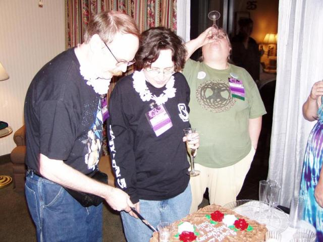 Anniversary party 7; Whew! They only cut the cake